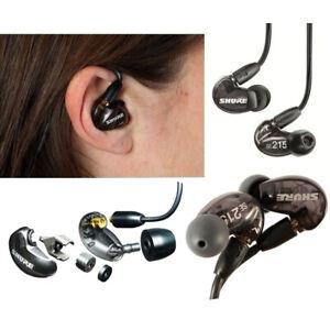 New Genuine SHURE SE215 Sound Isolating In Ear Pro Stereo Earphones SE 215 BLACK