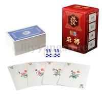 MAH Jong 144 Papel Mahjong Chino Juego Cartas Juego Portátil de Viaje Set C