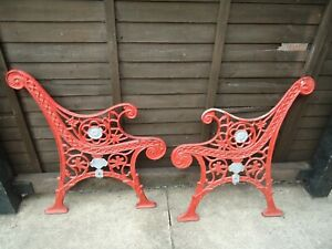 Vintage Pair Heavy Cast Iron Bench Ends