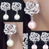 #E505A Bridal CLIP ON screw back EARRINGS Rose Flower Clear Crystal Faux Pearl