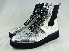 SHELLYS LONDON Womens 41 9.5 Lily Graphite Crinkle Leather Platform Boots Silver