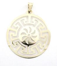10k Yellow Gold Circle Pendant (NEW round greek sun design, 2g) #3024