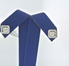 14kt  Gold Square Halo 1.25 CT Diamond Stud Earrings, 2.3gm, S103203