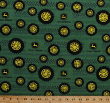John Deere Tractor Tires Tread Country Farm Cotton Flannel Fabric Print D282.11