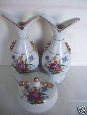 Vintage Hand Painted Decorated Jewel Trinket Box & 2 Bud vase Signed #7033 Mint