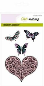 Craft Emotions A6 Clear Stamps - Heart & Butterflies - 1082 - Cardmaking