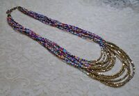 MULTI COLOR GLASS SEED BEADED MULTI STRAND BOHO STATEMENT GOLD TONE NECKLACE