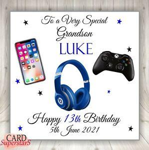 Handmade Personalised Boys 13th 16th 18th Birthday Card Son Grandson Nephew