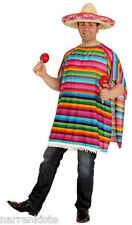 Poncho Mexikaner Mexico Sambrero Umhang Cape Überwurf Kostüm Karneval Cowboy7204