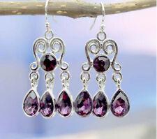 Amethyst Gemstone Engagement Wedding Silver Hook Earrings Jewelry Women