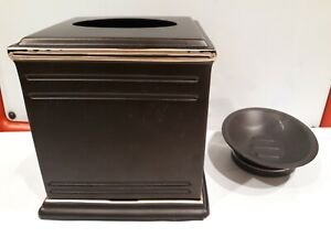 Lexington Tissue Box Cover and Bath Soap Dish Set of Two brown