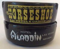 Lot Pair Of Two 2 Black Glass Ashtrays Las Vegas Vintage Horseshoe Aladdin Hotel