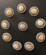 10 x Botones de Metal Oro Centro Diamante Broche Ideal Bricolaje Boda Ramo haciendo