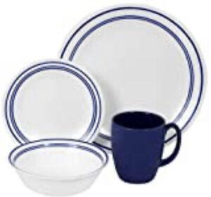 Corelle Casual Cafe Blue 16-Pieces, Vitrelle Glass Dinnerware Set, Service for 4
