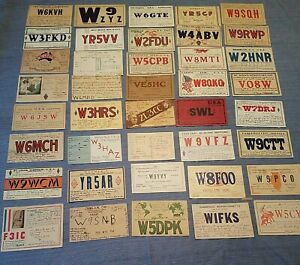 1930s  QSL Ham Radio Post Cards / Calling Cards  LOT OF 40