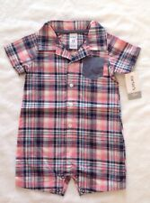 New Carters Boys Size 12 Months Pink Blue Plaid Romper 1 Piece
