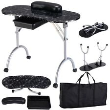 Black Design Manicure Nail Table Station Spa Beauty Salon Equipment Portable New