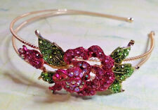 Gold Tone Pink Crystal Rose Flower Hairband Side Tiara Fascinator Prom Wedding
