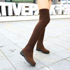 Women's  Winter Thigh High Boots Woman Shoes Knitting Wool Long Brown/Black Shoe