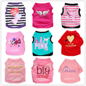 Girl Dog Clothes Pink Dog T shirt Pet Puppy Vest Size XS Small Medium Chihuahua