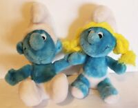 """Vintage 10"""" Plush Toy Smurf PEYO 1979 And Smurfette 1981 WALLACE BERRIE & CO"""