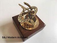 """Brass Sundial Compass Vintage Nautical  Retro Steampunk Wooden Teak Box 3"""" Inch"""