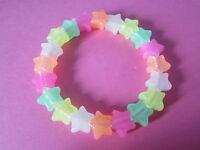 Kitsch Glow In the Dark Rainbow Plastic Star Bead Elastic Bracelet Retro Emo