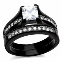 Women's Black Stainless Steel Princess Cut CZ Bridal Wedding Ring Set Size 5-10