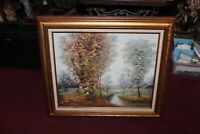 Original Oil Painting Forest Trees Canal Water Signed Brooke Large Framed