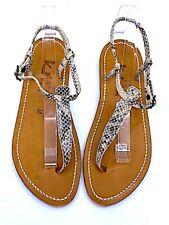 K JACQUES St. Tropez PICON Beige Python Leather Thong Slingback Sandal sz 39