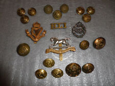 Collection of WW1, WW2 British Army Uniform Cap, Tunic, Collar Badges & Buttons
