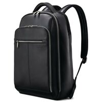 NWT SAMSONITE Classic Leather Backpack Laptop Tablet Zip Black 126037 FREE SHP