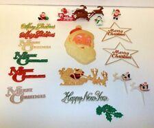 Vtg Plastic Christmas Cake Toppers Pick Santa Face Sleigh New Year Merry Snowman
