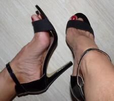 PETER MORRISSEY 10 aussie DESIGNER black PATENT anklestrap SEXY heels NEW SHOES