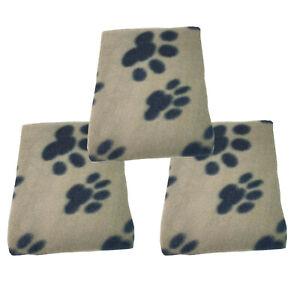 3 x BEIGE SOFT COZY WARM FLEECE PAW PRINT PET BLANKET DOG PUPPY ANIMAL CAT BED