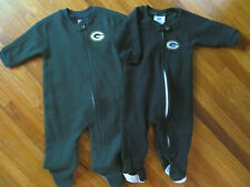 Lot of 2 Baby Green Bay Packers Warm Fleece Zip Footed Pajamas Size NB - 6 Month