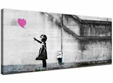Large Pink Canvas Wall Art of Banksy Balloon Girl