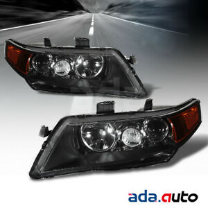2004 2005 2006 2007 2008 Acura TSX Black Projector Amber Headlights Set