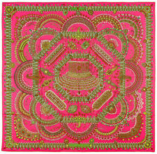 Hermes Parures Des Maharajas 100% Silk Twill Scarf In Rose 90 x 90cm - Brand New