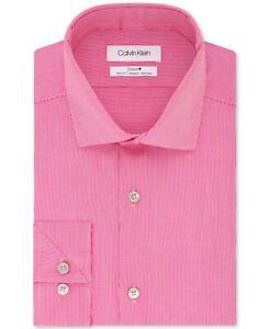 Calvin Klein Men's STEEL Slim-Fit Stretch Solid Dress Shirt Pink 16.5 32/33 $95