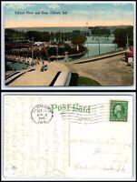 INDIANA Postcard - 1915 Elkhart, Elkhart River & Dam Q27