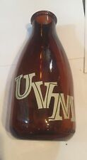 Vintage University Of Vermont Dairy USA Milk Bottle Amber