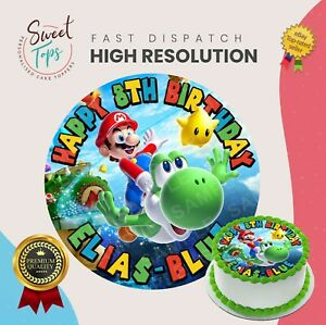 SUPER MARIO BROTHERS EDIBLE ROUND BIRTHDAY CAKE TOPPER DECORATION PERSONALISED