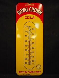 """Vintage 50's ROYAL CROWN COLA (RC - Nehi Corp) Working Thermometer 25"""" x 9 1/2"""""""