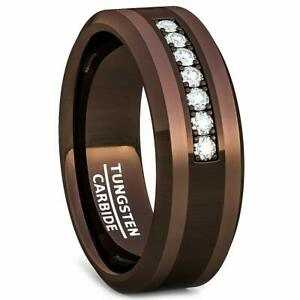 Mens Jewelry Brown Tungsten Ring with Cubic Zircon  Wedding Band Birthday Gift