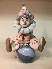 """collectible vintage porcelain Lladro #5813 """"Having a Ball"""" Clown sitting on ball"""