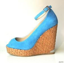 new $575 JIMMY CHOO Pacific blue suede ankle strap cork wedges shoes 36.5 6.5