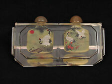 Vintage Chinese Rock Crystal Inside Painted Double Snuff Bottle & Box-Rare