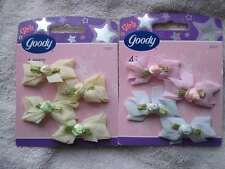 8 Goody Girls Baby White Pink Yellow Fabric Rose Flowers Hair Barrettes Pastel