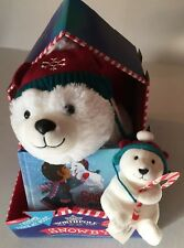 Hallmark Northpole Plush Polar Bear Snowby w Book AND Plush Christmas Ornament